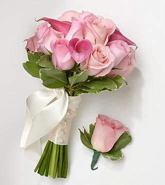 Perfect Pinks Bridesmaid Bouquet & Groomsman Boutonniere