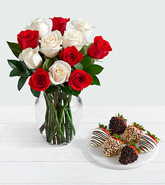 12 Candy Cane Roses with 6 Fancy Strawberries