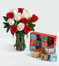 12 Candy Cane Roses with 12 Days of Christmas Cocoa