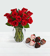 One Dozen Red Roses with 6 Valentine's Strawberries