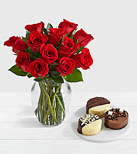 12 Red Roses with Dipped Cheesecake Trio