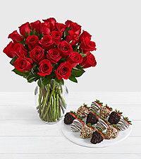 24 Long Stem Red Roses with 12 Fancy Strawberries