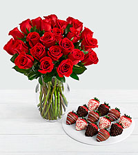 24 Long Stem Red Roses with 12 Christmas Strawberries
