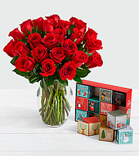 24 Long Stem Red Roses with 12 Days of Christmas Cocoa
