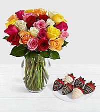 24 Rainbow Roses with 6 Birthday Strawberries