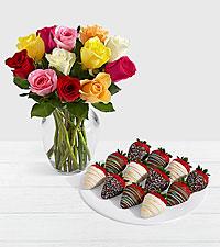 12 Rainbow Roses with 12 Birthday Strawberries