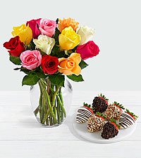 12 Rainbow Roses with 6 Fancy Strawberries