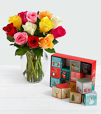 12 Rainbow Roses with 12 Days of Christmas Cocoa