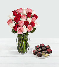 24 Sweetheart Roses & 9 Valentine's Cheesecake Bites