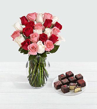 24 Sweetheart Roses & 9 Valentine's Cheesecake Bites
