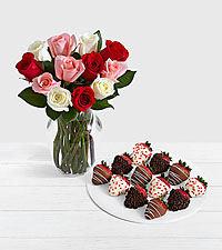 12 Sweetheart Roses with 12 Valentine's Strawberries