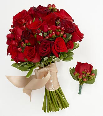 Rich Reds Bride Bouquet & Groom Boutonniere