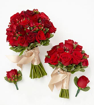 Rich Reds Bride & Maid of Honor Bouquets with Groom & Best Man Boutonnieres