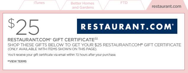 Restaurant.com Gift Certificate