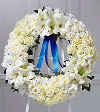 The FTD® Wreath of Remembrance™-Blue Ribbon