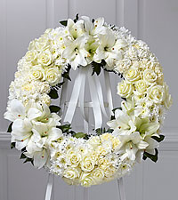The FTD® Wreath of Remembrance™ -White Ribbon