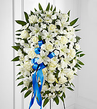 Exquisite Tribute™ Standing Spray-Blue Ribbon