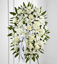 Exquisite Tribute™ Standing Spray-White Ribbon
