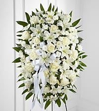 La gerbe sur pied Exquisite Tribute™ de FTD®–Ruban blanc
