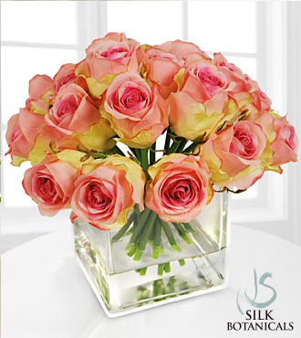 Jane Seymour Silk Botanicals Pink Rose Buds in Square Glass Vase
