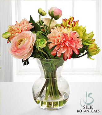 Jane Seymour Silk Botanicals Dahlia & Ranunculus Bouquet in Glass Vase