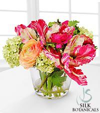 Jane Seymour Silk Botanicals Parrot Tulips in Glass Vase