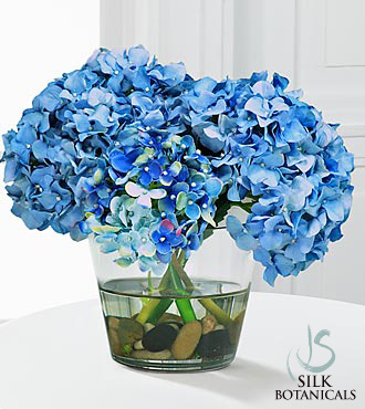 Jane Seymour Silk Botanicals Blue Hydrangea Bouquet in Glass Vase