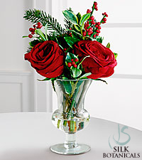 Jane Seymour Silk Botanicals Holiday Rose & Ilex Berry Bouquet