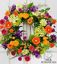 Jane Seymour Silk Botanicals Ranunculuc & Zinnia Spring Wreath