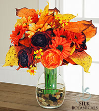 Jane Seymour Silk Botanicals Fall Fun Colors Bouquet in Glass Vase