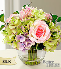 The Better Homes & Gardens® Silk Rose & Hydrangea Bouquet in Clear Glass Bubble Bowl Vase