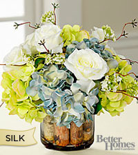 The Better Homes & Gardens® New England Springtime Bouquet in White Birch Glass Cachepot