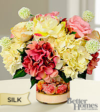 The Better Homes & Gardens® Silk Spring Garden Bouquet in Floral Themed Glass Cachepot