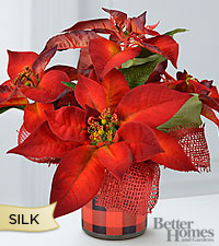 The FTD® Holiday Joys Silk Poinsettia Plant by Better Homes and Gardens®
