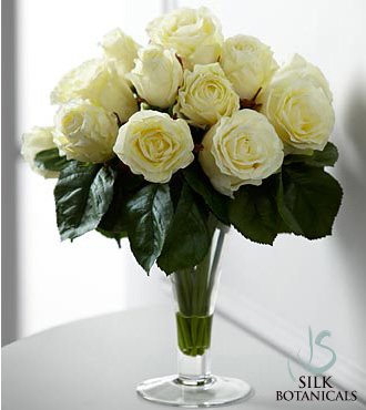 Jane Seymour Silk Botanicals White Roses in Glass Vase