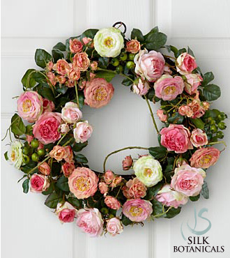 Jane Seymour Silk Botanicals Pink Garden Rose Wreath