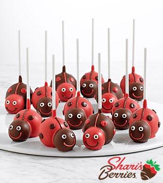 12 Handmade Love Bug Brownie Pops