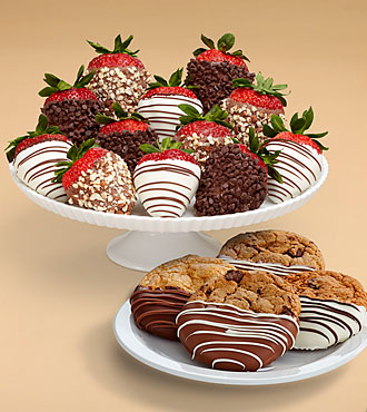 4 Dipped Cookies & Full Dozen Fancy Strawberries