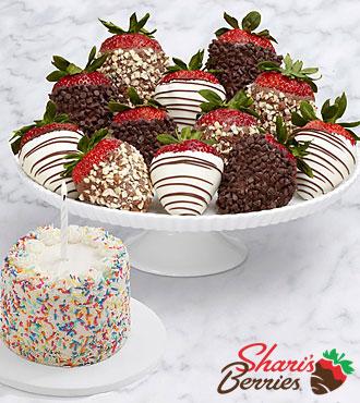 Petite Birthday Cake & Full Dozen Fancy Strawberries