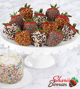 Petite Birthday Cake & Full Dozen Premium Strawberries
