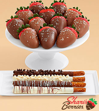 4 Caramel Pretzels & Full Dozen Salted Caramel Strawberries
