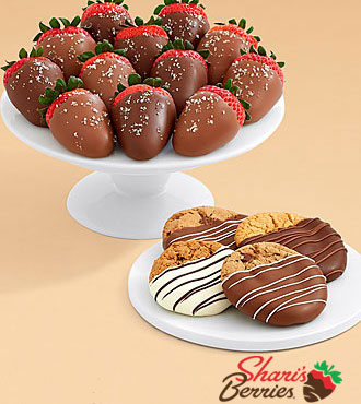 4 Dipped Cookies & Full Dozen Salted Caramel Strawberries
