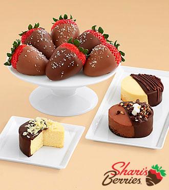 Dipped Cheesecake Trio & Half Dozen Salted Caramel Strawberries