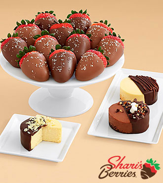 Dipped Cheesecake Trio & Full Dozen Salted Caramel Strawberries