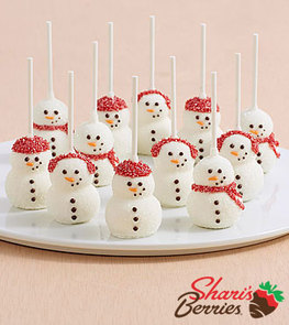 12 Handmade Snowman Brownie Pops