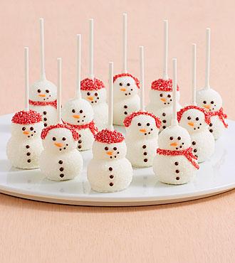 12 Handmade Snowman Brownie Pops