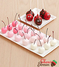3 Love Bug Brownie Pops & 20 Hand-Dipped Ombre Cherries