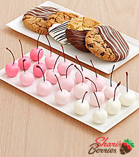4 Dipped Cookies & 20 Hand-Dipped Ombre Cherries
