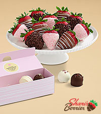 4 Mother's Day Cake Truffles & Full Dozen Mother's Day Strawberries