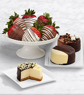 Dipped Cheesecake Trio & Half Dozen Swizzled Strawberries